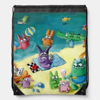 Monsters on the Beach Cinch Bag