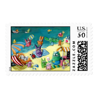 Monsters on the Beach Postage