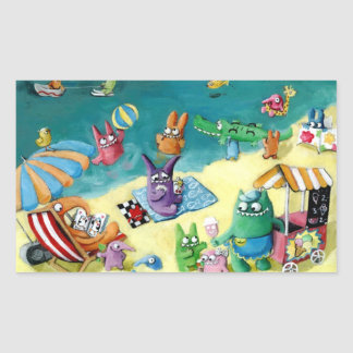 Monsters on the Beach Rectangular Sticker