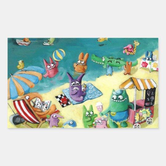 Monsters on the Beach Rectangular Sticker