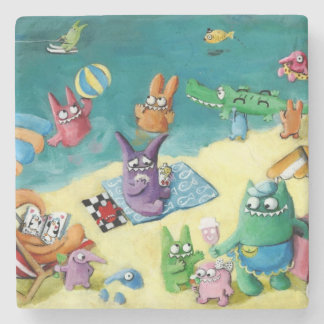 Monsters on the Beach Stone Coaster