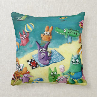 Monsters on the Beach Throw Pillow