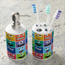 Monsters Pattern Monster Faces Kids Colorful Funny Bathroom Set