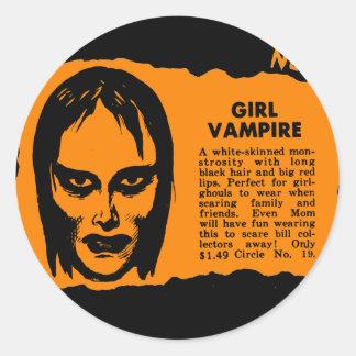 Monsters Retro Vintage Kitsch Monster Girl Vampire Classic Round Sticker