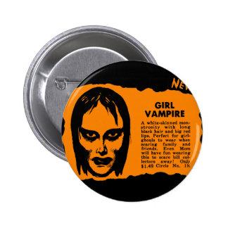 Monsters Retro Vintage Kitsch Monster Girl Vampire Pinback Button