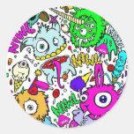 monsters round sticker