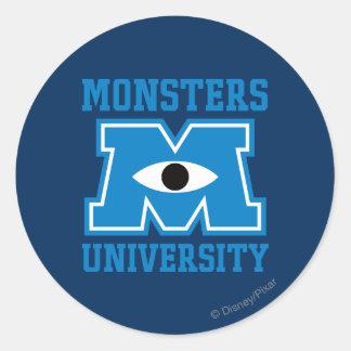 Monsters University Blue Logo Classic Round Sticker