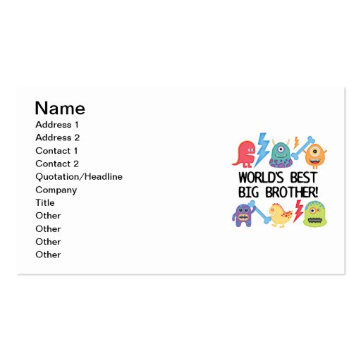 Monsters World's Best Big Brother Business Card Templates