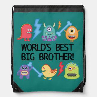 Monsters World's Best Big Brother Drawstring Bag