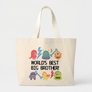 Monsters World's Best Big Brother Large Tote Bag
