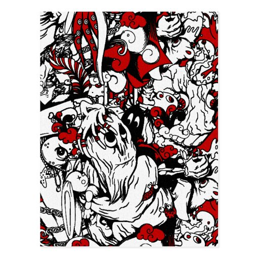 Monsters & Zombies Cartoon Characters Postcard