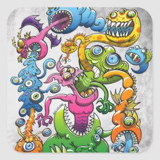 Monstrously Messy Square Sticker