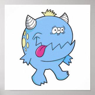monstruo adorable del chomper de la lengua azul impresiones