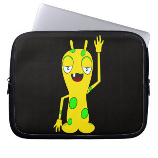Monstruo amarillo con los puntos verdes que agitan manga portátil