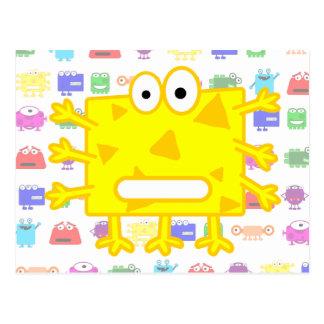 Monstruo amarillo lindo del dibujo animado postales