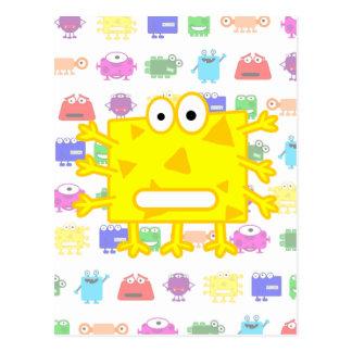 Monstruo amarillo lindo del dibujo animado tarjetas postales