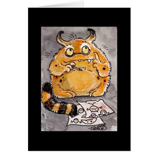 Monstruo anaranjado creativo Notecard Felicitaciones