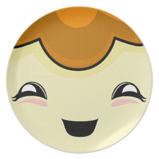 Monstruo anaranjado de las cosquillas de Kawaii Plato Para Fiesta