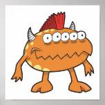 monstruo anaranjado del mohawk muchos ojos posters