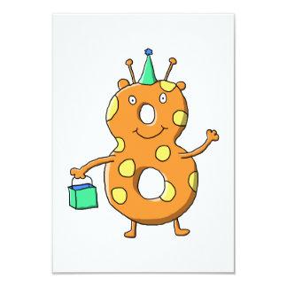 """Monstruo anaranjado del número 8 para el 8vo invitación 3.5"""" x 5"""""""
