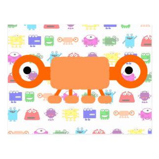 Monstruo anaranjado lindo del dibujo animado postales