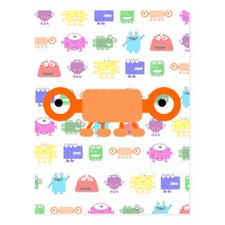 Monstruo anaranjado lindo del dibujo animado tarjetas postales
