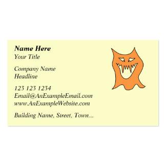 Monstruo anaranjado tarjetas de visita