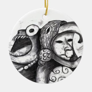Monstruo azteca adorno redondo de cerámica