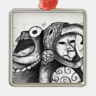 Monstruo azteca adorno cuadrado plateado