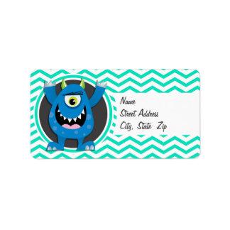 Monstruo azul; Aguamarina Chevron verde Etiqueta De Dirección