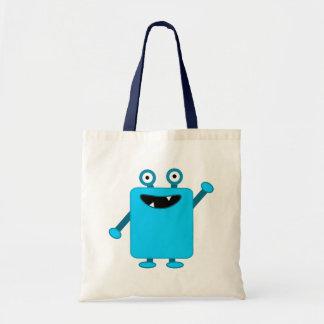 Monstruo azul claro lindo del dibujo animado bolsa