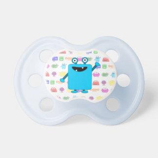 Monstruo azul claro lindo del dibujo animado chupetes para bebes