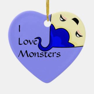 Monstruo azul de las cosquillas de Kawaii Adorno De Cerámica En Forma De Corazón