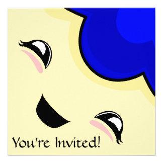 Monstruo azul de las cosquillas de Kawaii Invitacion Personal