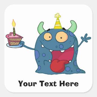 Monstruo azul del cumpleaños (personalizable) calcomania cuadradas