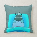 Monstruo azul en dormir de la cama cojin