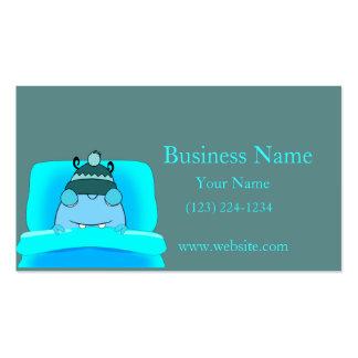 Monstruo azul en dormir de la cama tarjetas de visita