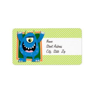 Monstruo azul en rayas de la verde lima y del etiqueta de dirección