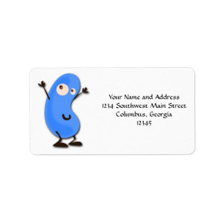 Monstruo azul lindo de la haba etiqueta de dirección