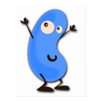 Monstruo azul lindo de la haba tarjeta postal