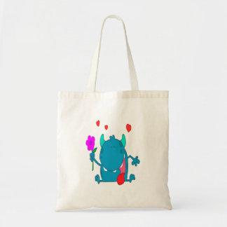 monstruo azul lindo del amor bolsa