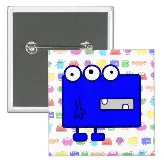 Monstruo azul lindo del dibujo animado pin