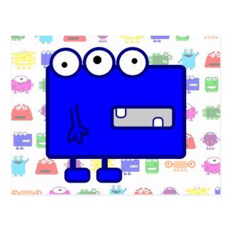 Monstruo azul lindo del dibujo animado postal