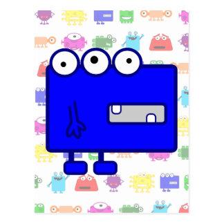 Monstruo azul lindo del dibujo animado tarjeta postal
