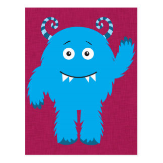 Monstruo azul lindo retro postal