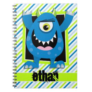 Monstruo azul;  Rayas verdes, blancas de neón Spiral Notebooks