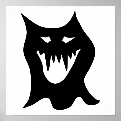 Monstruo blanco y negro póster