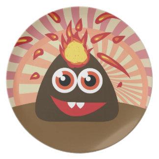 Monstruo caliente del volcán plato para fiesta