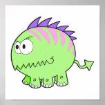 monstruo chompy del mascota del verde del spikey posters
