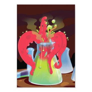 """Monstruo científico del frasco del experimento invitación 3.5"""" x 5"""""""